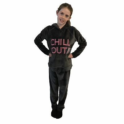 Ex M&S Marks And Spencer Girls 2pc Charcoal Chill Out Hooded Velour Tracksuit