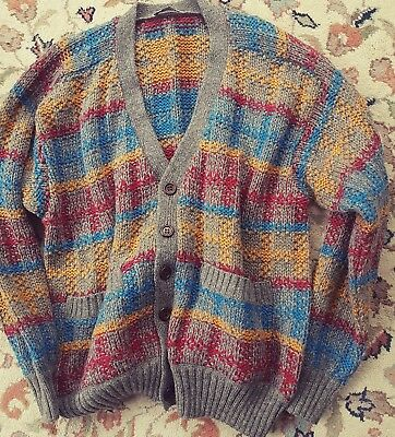 Vtg Missoni Sport Italy Wool Tweed Style Knitted Chunky Unisex Cardigan Jumper L