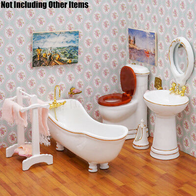 Dollhouse Miniature 5pcs Ceramic Bathroom Supplies Suites 1:12 Furniture Set Top