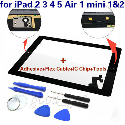 Digitizer Glass Touch Screen + Home Replacement For iPad 2 3 4 5 Air 1 mini 1 2