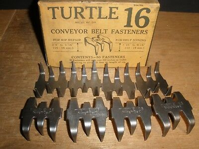 Turtle 16 Conveyor Belt Fasteners Joining Rip Repair Vintage Old Stock (Qty.8)