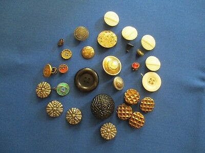 Antique Button Selection Glass Brass Gilt Metal Enamel   FREEPOST