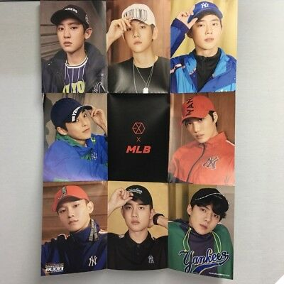 EXO X MLB Posters Collaboration Second Bromide Chanyeol Xiumin Suho Sehun KPOP