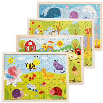 Unique Wooden Puzzle Jigsaw Cartoon Baby Kids Educational Learning Tool Set