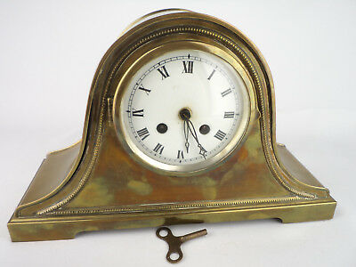 282 MANTEL CLOCK WATCH rare BRASS CASE WORKING ENGLAND 1920s home kitchen decor