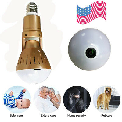 360° Panoramic HD 1080P Hidden wifi Camera Light Bulb Security IP Spy Cam NEWEST