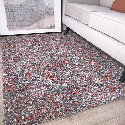 Warm Fluffy Thick Soft Terra Orange Shaggy Rugs Non Shed Mottled Cosy Area Rug