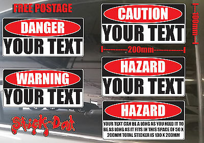 Warning Hazard Danger Caution Your Text Words Custom Large Corflute sign plastic