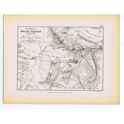 Battle of Mount Tabor 1799- French & Turk Battle Lines Ottoman Empire - 1875 Map