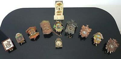 11 Rare Antique Small Vintage Cuckoo Clocks Job Lot