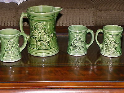 Antique Nelson Mccoy Pottery Buccaneer Tankard & Mugs / Pirate/ 1926/ Green