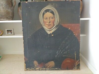 Antique Early 19Th Century Primitive Portrait On Canvas In As Found Condition