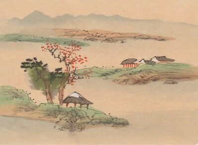 Hand Painted Japanese Miniature Ink Drawing with Pagoda on Rice Paper c. 1930s