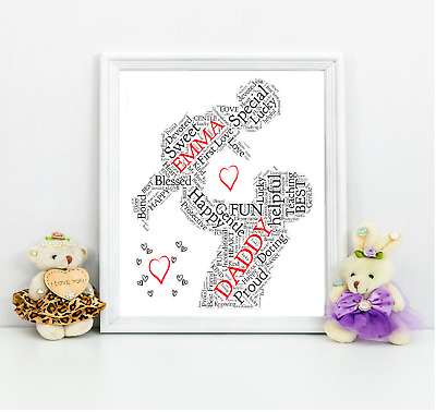 Dad 1st First Christmas Daddy Personalised Gift A4 Print