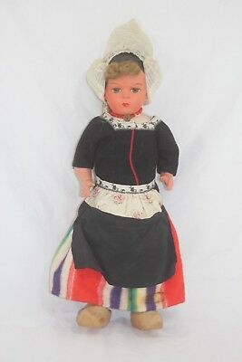 "Vintage Antique Celluloid Doll Dutch Outfit Original 17"" Beautiful Face Paint"