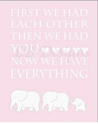 Pink Elephant Nursery Print, Girl Jungle Nursery Decor 8x10
