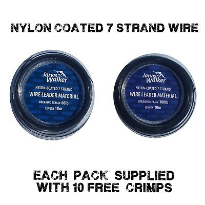 Jarvis Walker trace Wire 60lb 100lb For Sea and Pike Fishing  + 10 free crimps