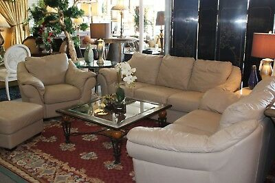 ITALSOFA BY NATUZZI cream colored leather living room set ...