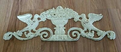 Antique Rustic Cast Iron Birds Flower Bouquet Wall Hanging Plaque Garden Deco