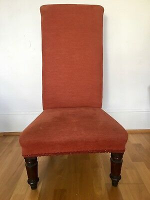 Antique Upholstered Prayer High Backed Low Armchair Wooden Legs Good Condition