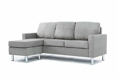 Modern Soft Brush Microfiber Sectional Sofa   Small Space Configurable  Couch.