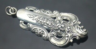 Magnificent Vintage Repousse Detailed Flower Patterned Sterling Silver Pendant