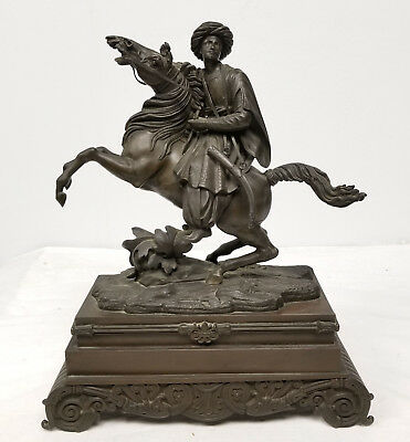 ANtique 19th Century Cast Bronze Arabian Islamic Turkish Horseman Orientalist