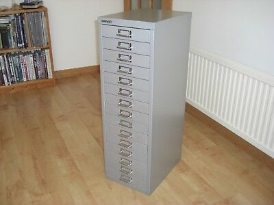 Bisley  15 Multi Drawer Filing Cabinet - As  New - Silver Grey
