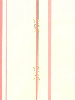 Pink Stripes With Victorian Flair Wallpaper KK4720