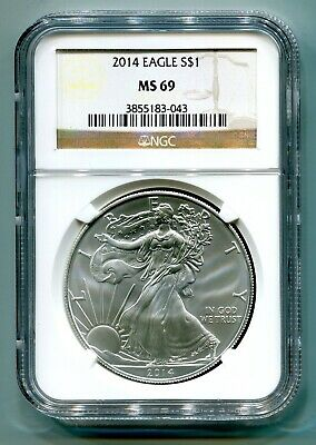 2014 American Silver Eagle Ngc Ms 69 Brown Label Premium Quality Ms69 Pq