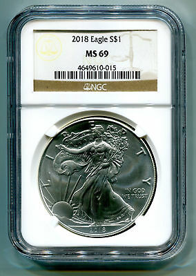 2018 American Silver Eagle Ngc Ms69 Classic Brown Label As Shown Premium Quality