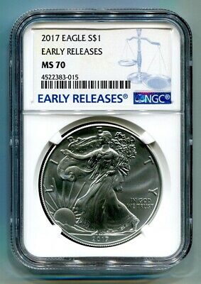 2017 American Silver Eagle Ngc Ms70 New Early Releases Blue Label, As Shown, Pq
