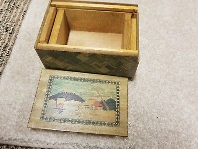 vintage wood Japanese inlaid puzzle box with hand painted scenes top bottom