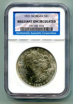 1921 Morgan Silver Dollar Ngc Brilliant Uncirculated From Bobs Coins Fast Ship