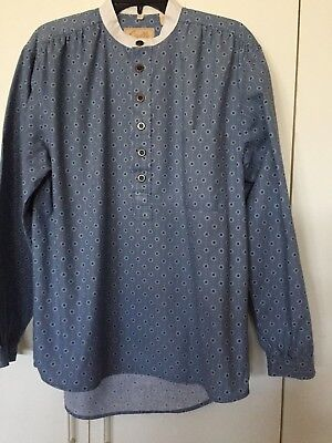 Scully by Wah Maker Shirt Blue Med Pullover Standup collar West Reenactment