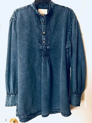 Scully by Wah Maker Shirt Blue Pullover Standup Collar Western Reenactment Med