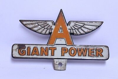 Nice Early Gas Station Advertising Giant Power Flying A License Plate Topper