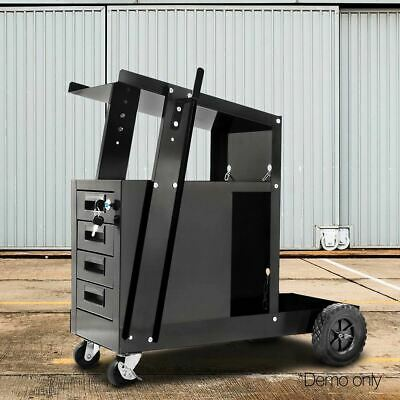 Welding Cart Trolley 4 Lockable Drawer Workshop Swivel Welder Tool Storage Black