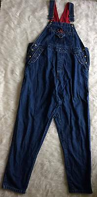 Duo Front Back Pockets Button Blue Denim Maternity Dungarees jumpsuit Sz Small