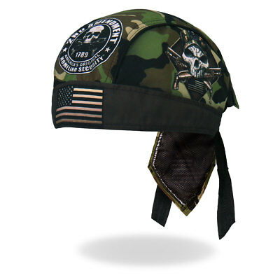 2nd Amendment Camo Skull Durag Head Wrap Bandanna Sweatband Lined Free Shipping