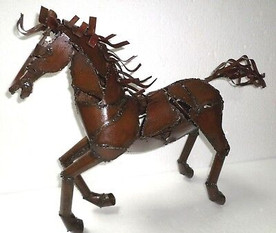 "X Large 25"" Mexican Western Art Welded Metal Galloping Horse Figure San Miguel"