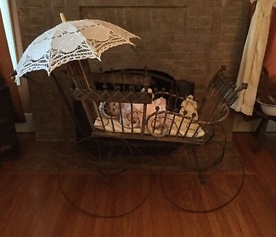 Antique 1800s early 1900s Baby Carriage Buggy Pram Stroller Wood Doll Display