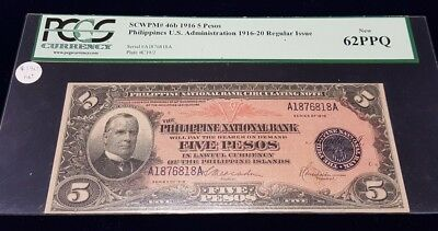 Philippines 5 Pesos Banknote 1916 NEW UCIRCULATED Grade PCGS 62 NEW SCWPM t#46b