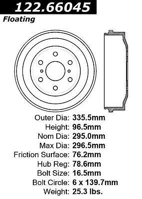 Centric 122.66045 Rear Brake Drum