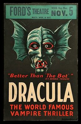 DRACULA ✯ CineMasterpieces ORIGINAL STAGE PLAY WINDOW CARD POSTER 1928 VAMPIRE