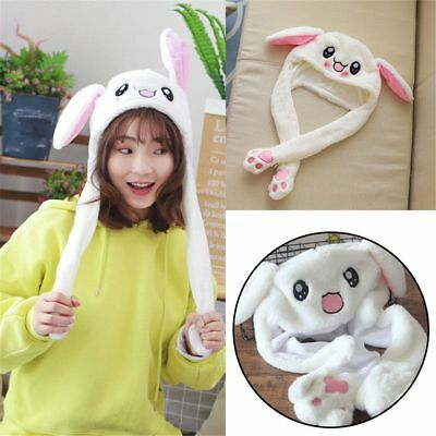 Hot Cute Rabbit Pinching Ear Hat Can Move Airbag Magnet Cap Plush Knit Hat Gift