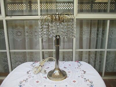 Vintage Electric Metal Lamp With Crystal Drops