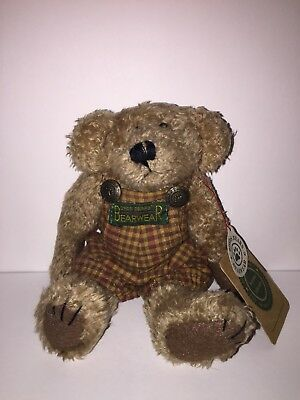 """Boyds Bears Rex Investment Collections Archive Retired Overalls Plush 8"""" RARE"""