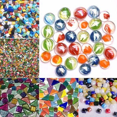 50/100/120g Multicolor Square Pieces Glass Mosaic Tiles Wall DIY Crafts 10mm