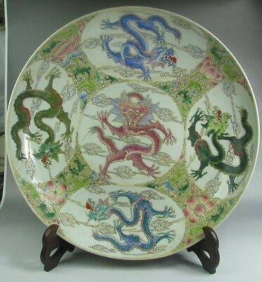China porcelain hand-painted 5 color dragon figure flower design large plate 17""